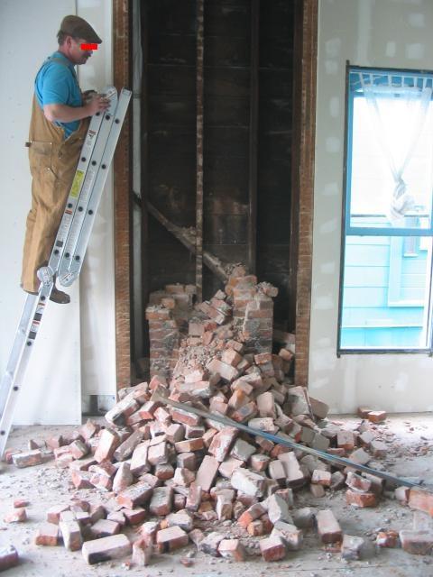 chimney, half down