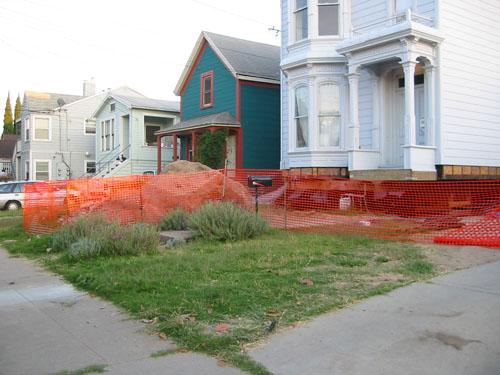 A protective orange fence
