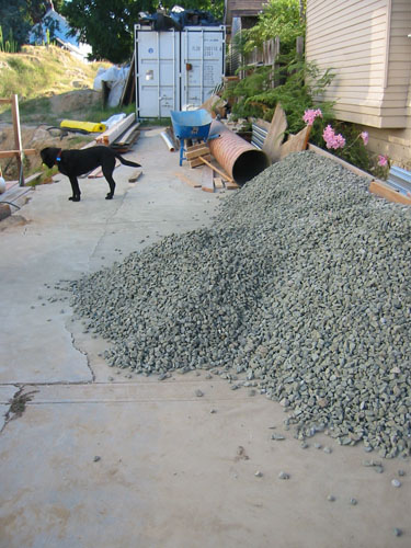 Piled gravel