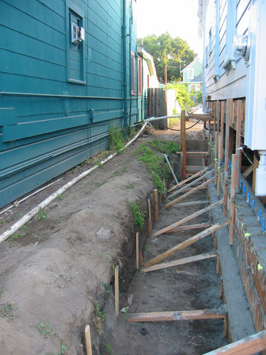 Side yard with foundation