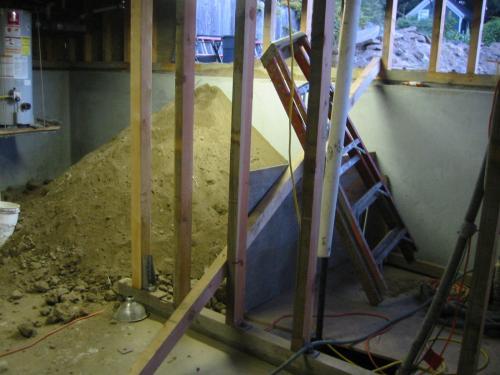 pile of dirt in basement