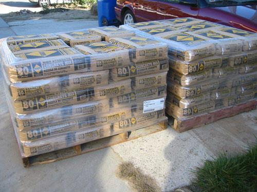 84 sacks of concrete
