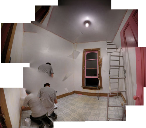 The first coat on the room
