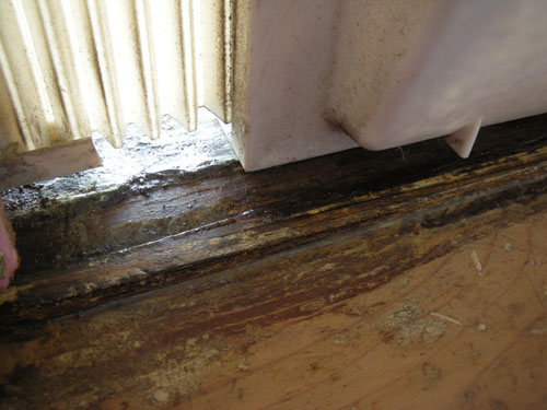 Repairing the wood on the window sill