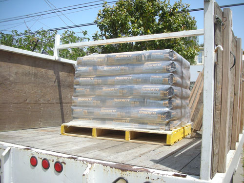 Palletload of concrete in the truck