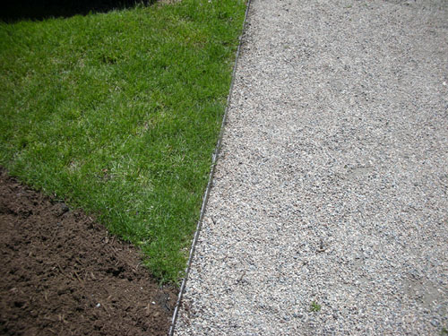 Gravel with steel edging