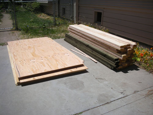 Lumber in the driveway