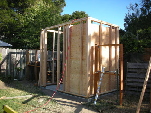 Plywood chicken room in place