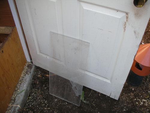 Door piece leaned up against the door