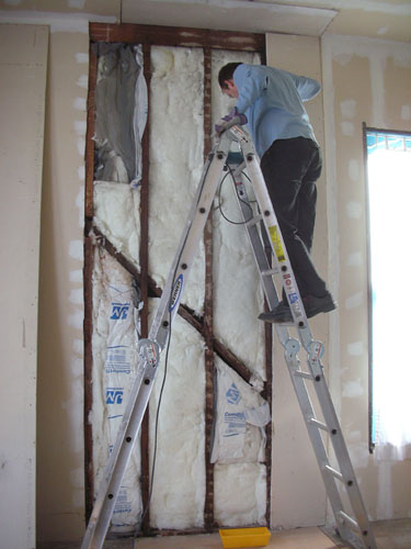 Taking down badly installed drywall