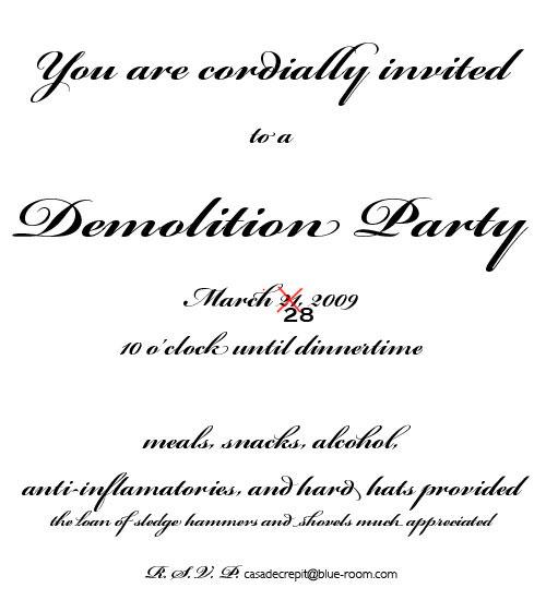 Demolition Party rescheduled
