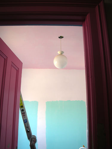 Ceiling with pink woodwork
