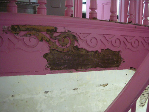 Paint removal on the stair skirting