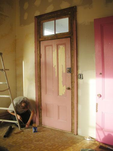 Reattaching the trim around the door