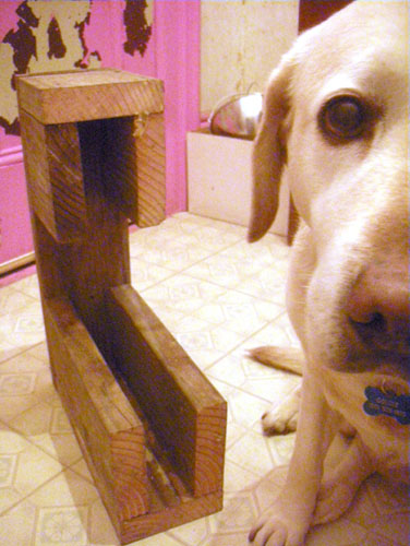 Goldie demonstrates the stair block's construction