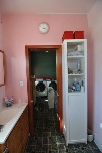The bathroom shelves, after