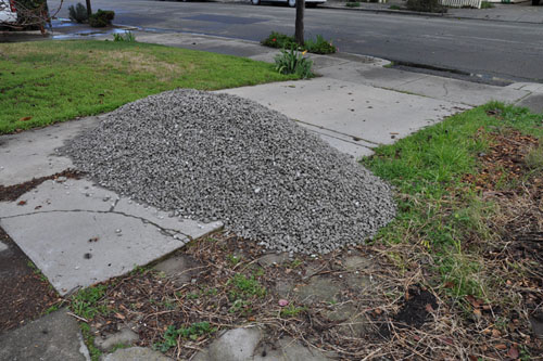 One yard of gravel waiting in the driveway