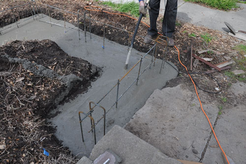 Concrete in the trench