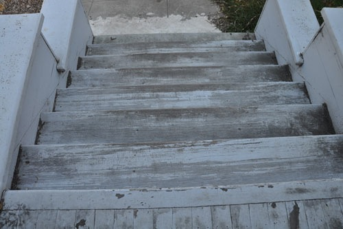 The steps, before