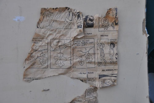 Newspaper from inside the wall