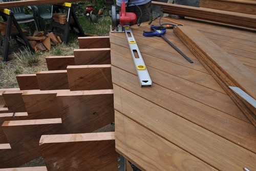 Setting up to trim the boards at the top of the stairs