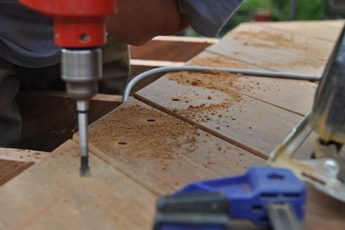 Predrilling holes for fasteners