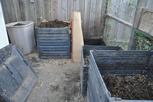 Turned and refreshed compost bins