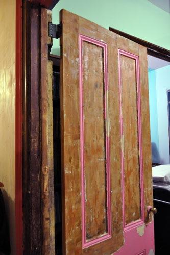 Partway through stripping the door