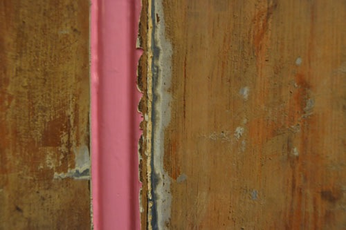 Layers of paint on the door