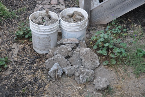 Concrete chunks dug out of a hole
