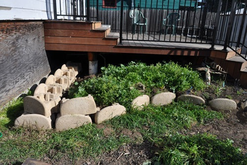 Building up the walls with blocks
