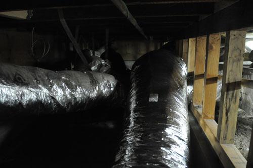 Crazy fun in a dark basement full of ductwork