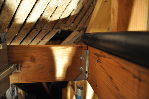 Along the top of the ceiling joists