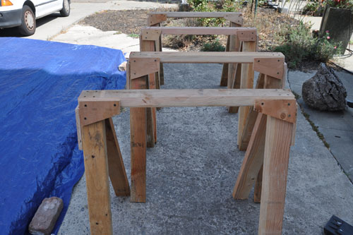 Sawhorses ready for action