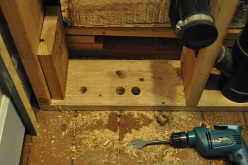 Drilling holes in the floor