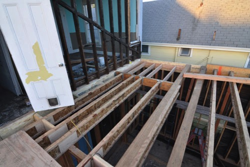 Upstairs back bathroom floor framing