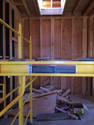 Back bathroom with skylight shaft