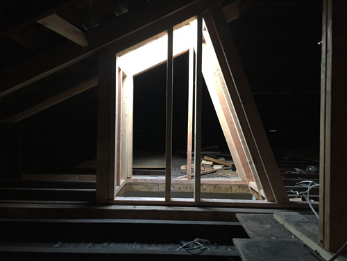 Skylight shaft in the attic
