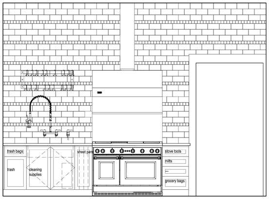 Kitchen stove wall