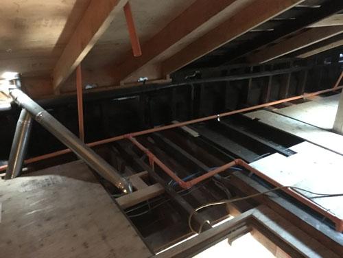 Sprinkler pipes in the attic