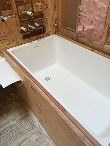 The tub in place
