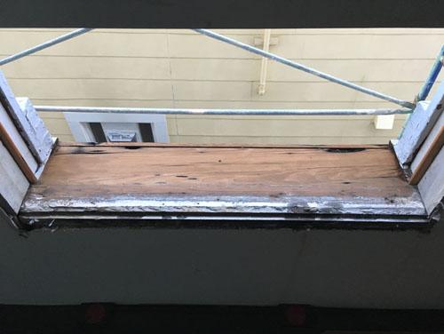 Exterior trim restoration work underway