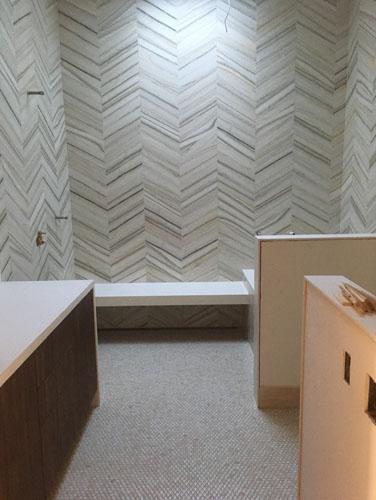 Back bathroom with the floor