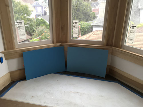 Blue for the bay window bedroom