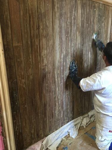 Interior woodwork stripping has begun
