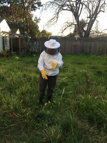 Me shaking off bees in the yard