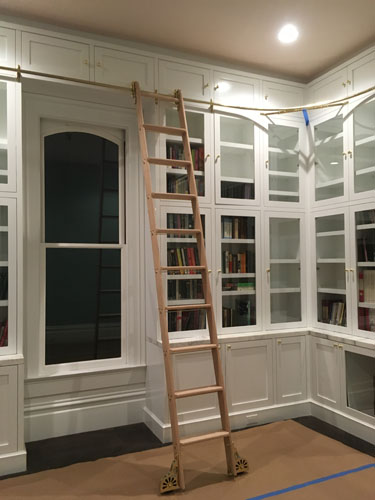 Library ladder installed