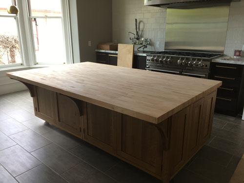 Butcher block countertop in place