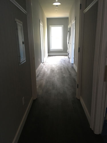Upstairs hall stained
