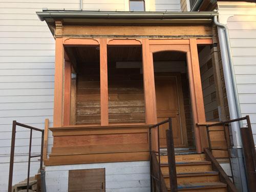 Side porch doorway